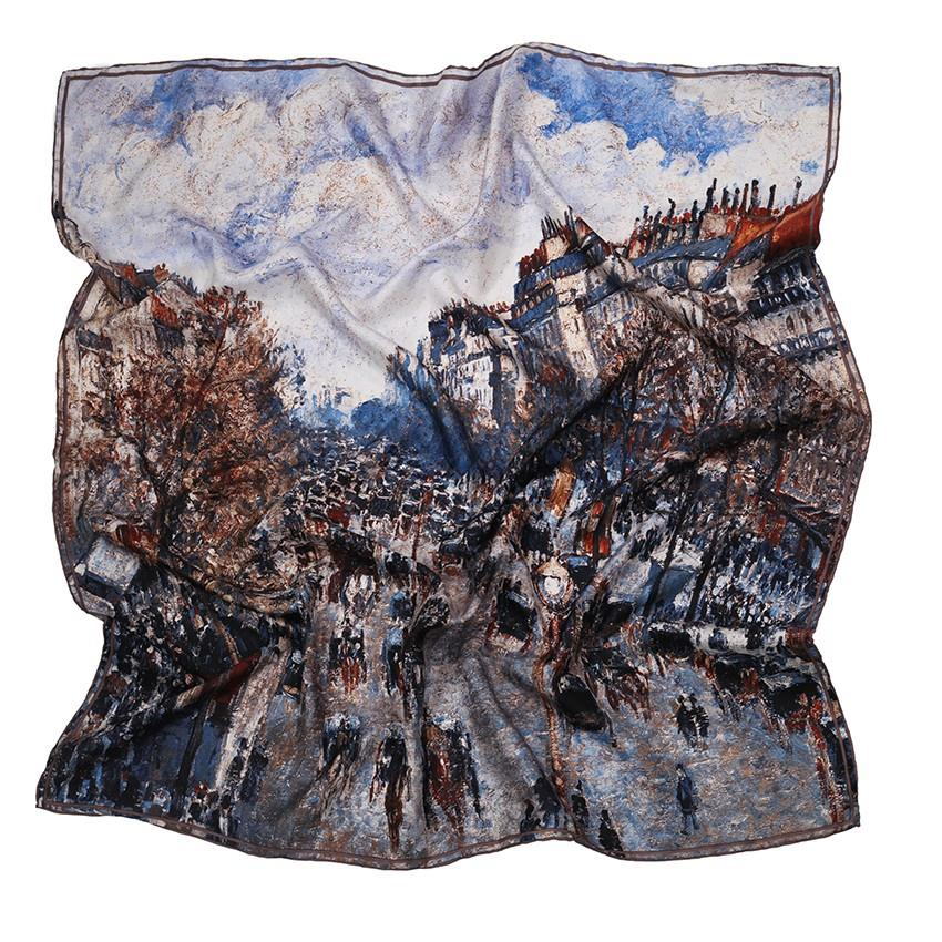 Distressed Oil Paint Silk Scarf-1