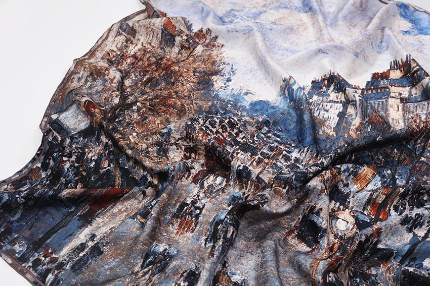 Distressed Oil Paint Silk Scarf-4