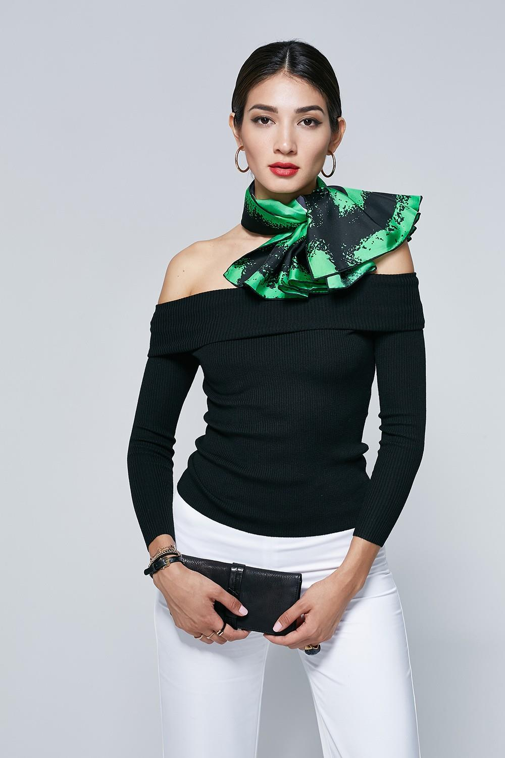 Green Classic Polka Dot silk Satin Scarf-3