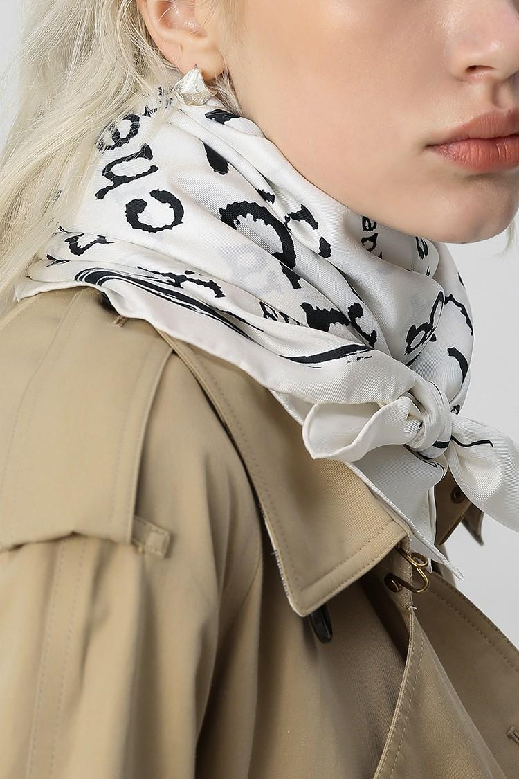 White Square Letter Pattern Silk Scarf-2