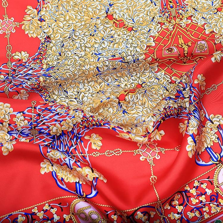 Red Screen Printing Silk Scarves-4
