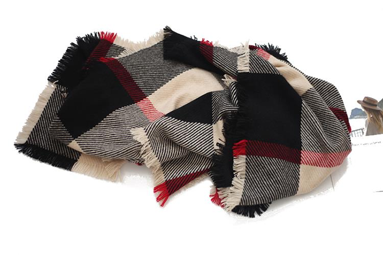 Checked Blanket Cashmere Scarves-2