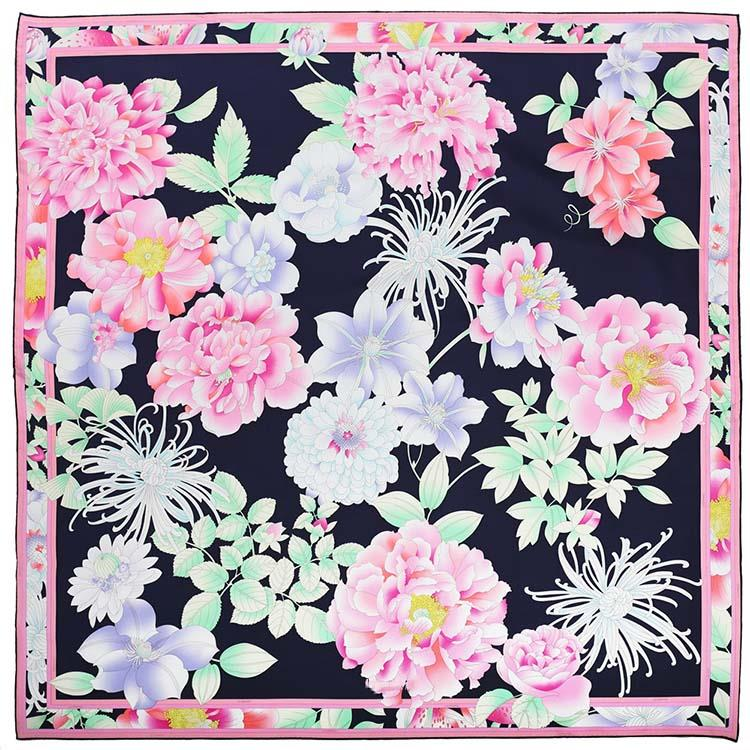 Flower Printing Square Silk Scarf-1