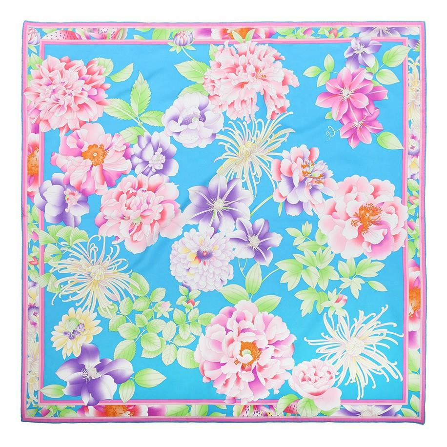 Flower Printing Square Silk Scarf