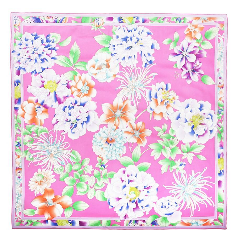 Flower Printing Square Silk Scarf-3