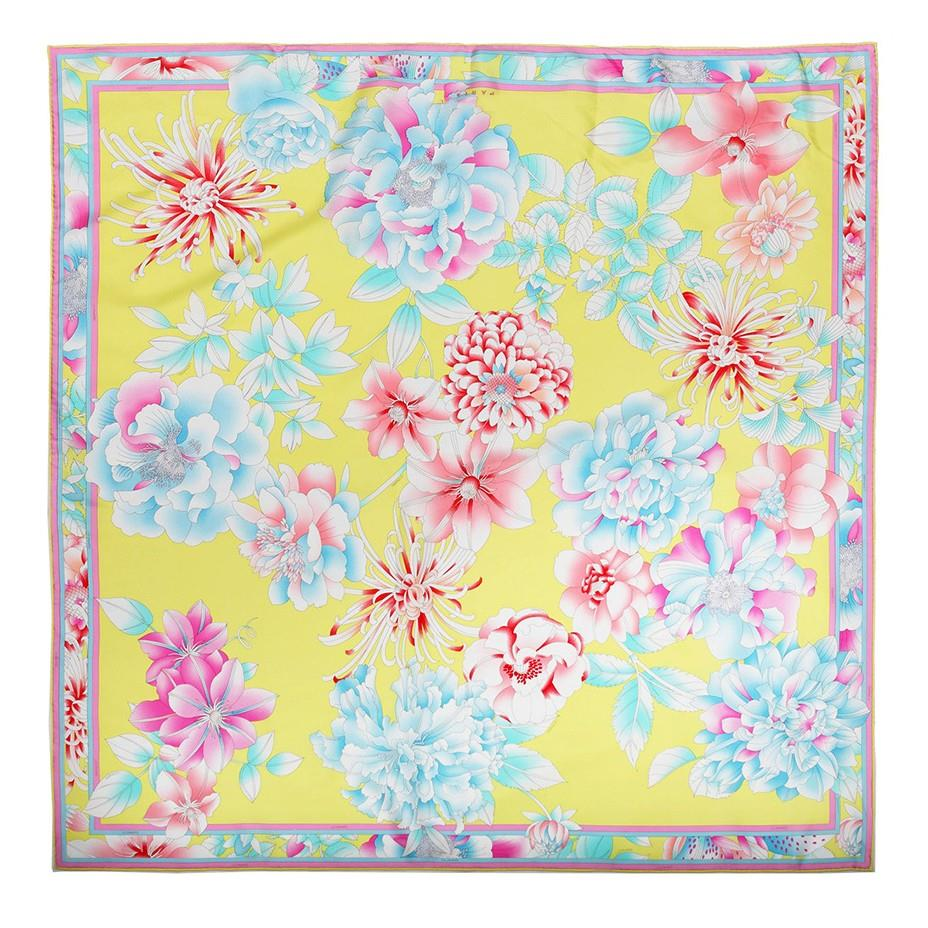 Flower Printing Square Silk Scarf-2