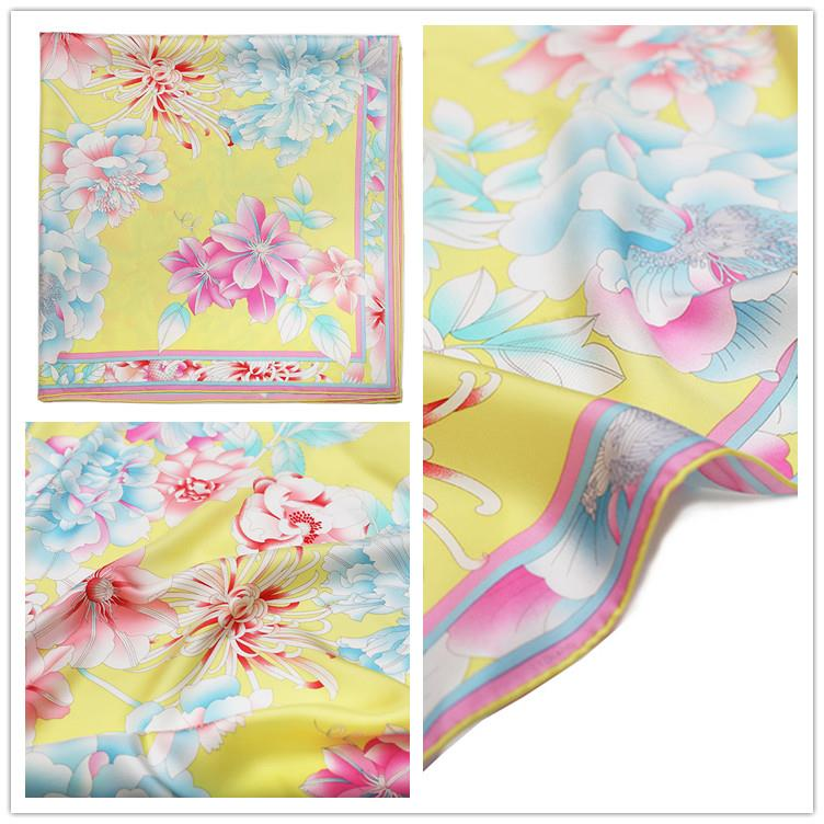 Flower Printing Square Silk Scarf-4