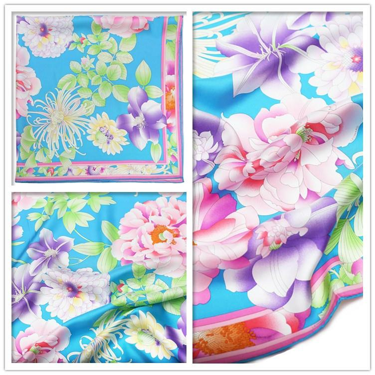 Flower Printing Square Silk Scarf-5