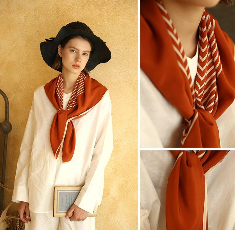 Multifunctional Silk Crepe De Chine Scarf-2