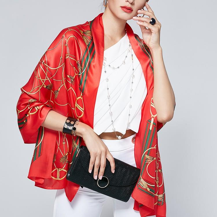 Chain Print Red Silk Scarves