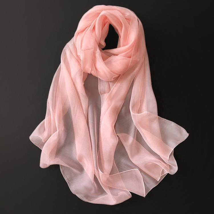 Long White Silk Scarf-4