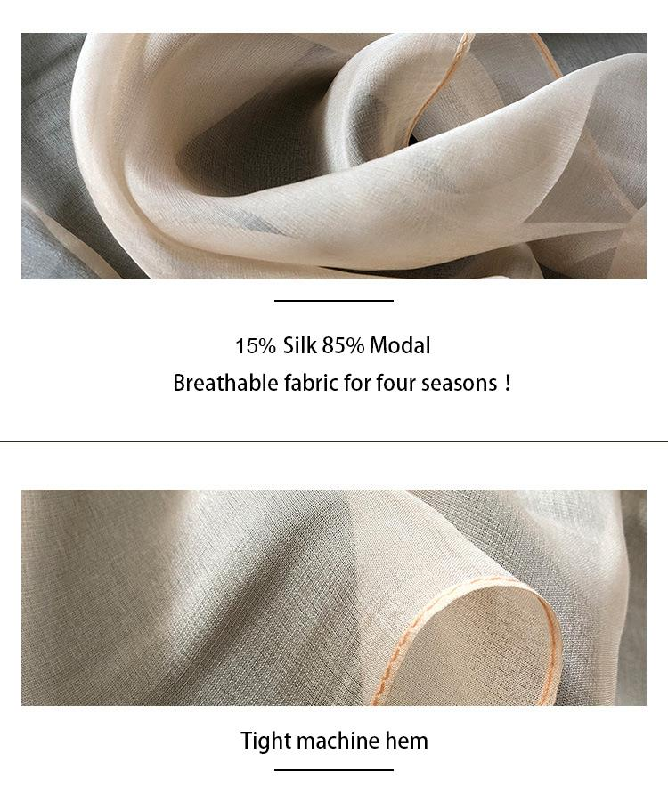 Long White Silk Scarf-5