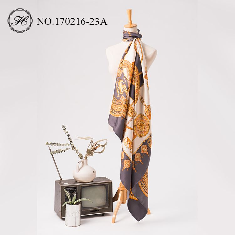 Printed Women Stain Silk Square Scarf 140cm-3
