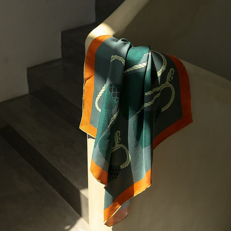 Screen Print Silk Neck Scarf