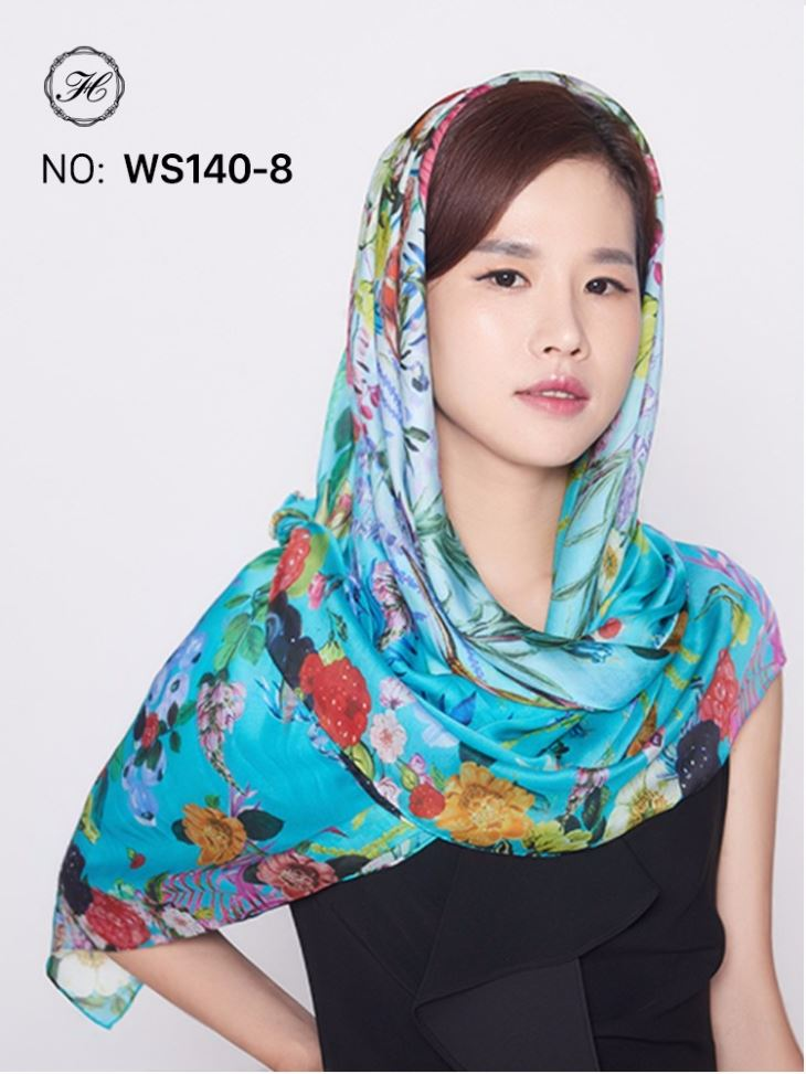 Silk Twill Scarves of Colorful Geometric Pattern