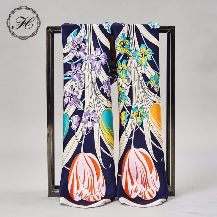 High Quality Custom Design Satin Silk Scarf Pashmina Ladies Scarves