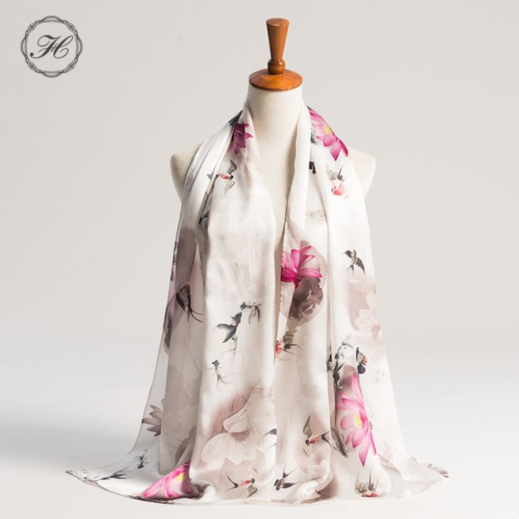 Customized Design Printed Satin Real Silk Scarf