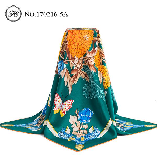 Butterfly Flowers Printed Silk Scarf