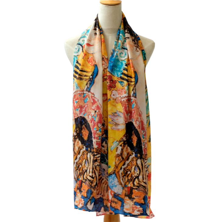 Oblong Silk Crepe Scarves for Sale