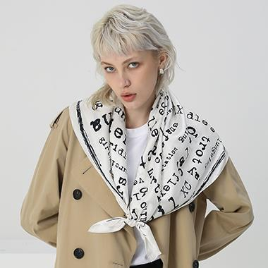 White Square Letter Pattern Silk Scarf