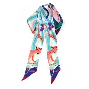 Animal Printed Skinny Silk Scarf