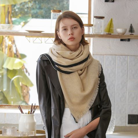 Beige Cashmere Knitted Scarf