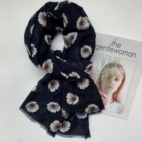 Floral Silk Modal Scarf With Fringe