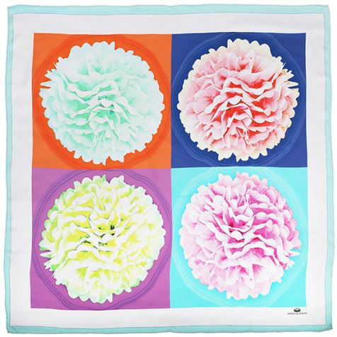Cheap Square Flower Silk Scarves