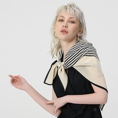Black Stripe Silk Crepe Scarves