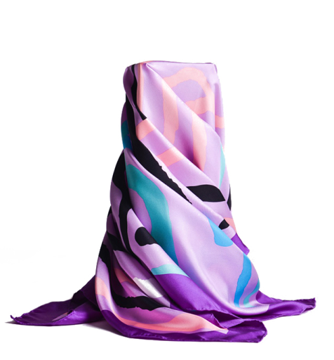 Large Screen Print Silk Satin Scarves