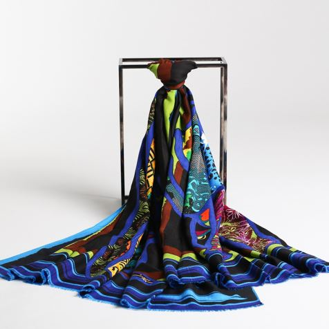 Black Print Silk Modal Shawl