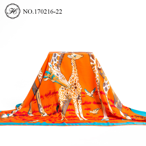 Giraffe Orange Large Silk Scarf