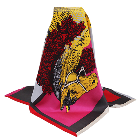 Graphic Print Square Silk Scarf