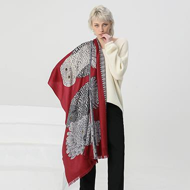 Burgundy Animal Print Cashmere Shawl