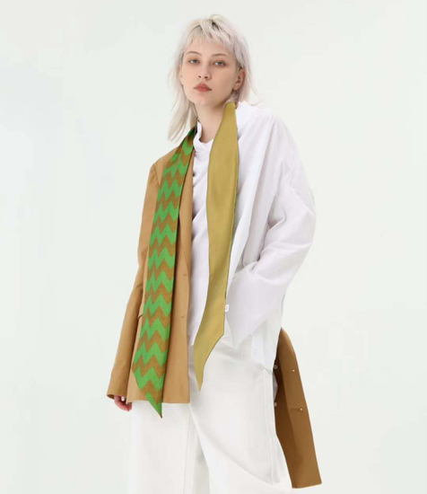 Double Sided Green Silk Skinny Scarves