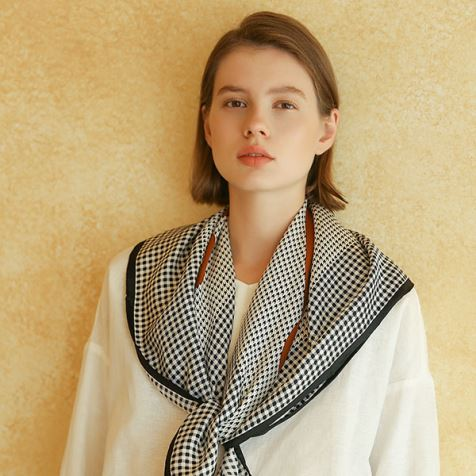 Houndstooth Silk Twill Wrap Scarf