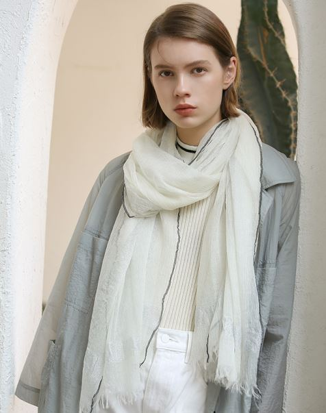 Ivory Camel Cashmere Scarf