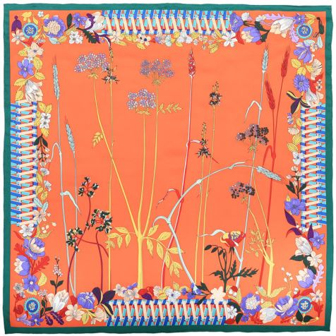 Orange Silk Scarf Womens