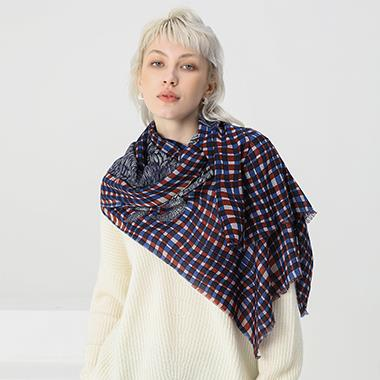 Check Modal Shawl for Women