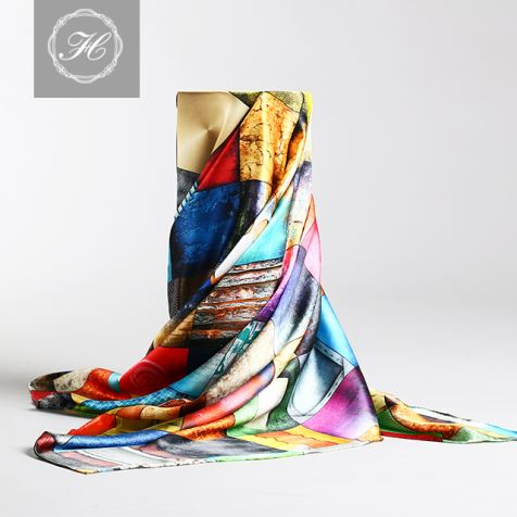 Screen Print Silk Satin Scarf