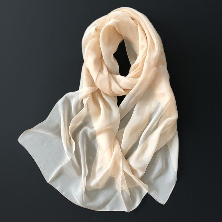 Long White Silk Scarf